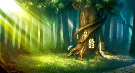 Bosque mágico de cuento de hadas de los niños en la noche con casa de árbol de fantasía