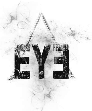 Text of eye in a pyramid background design