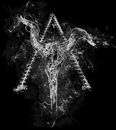 omgekeerde stier schedel ontwerp met piramide achtergrond Stockfoto