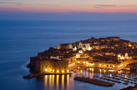 The Old Town of Dubrovnik at sunset, Croatia photo