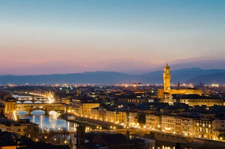 Florence, Italy - skyline with Duomo, Palazzo vecchio and Arno river photo