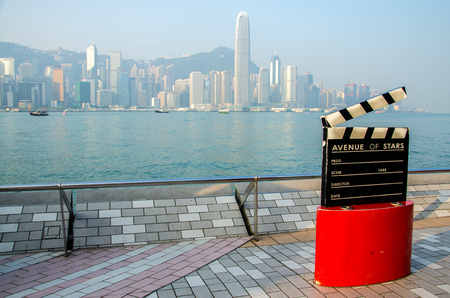 HONG KONG - OCTOBER 22: Avenue of Stars. The Avenue of Stars, modelled on the Hollywood Walk of Fame, is located along the Victoria Harbour on October 22, 2013 in Hong Kong. Editorial