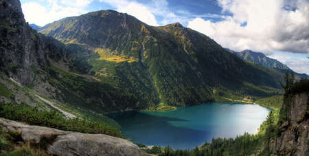 morskie: mointain tatry Morskie Oko pond from the top