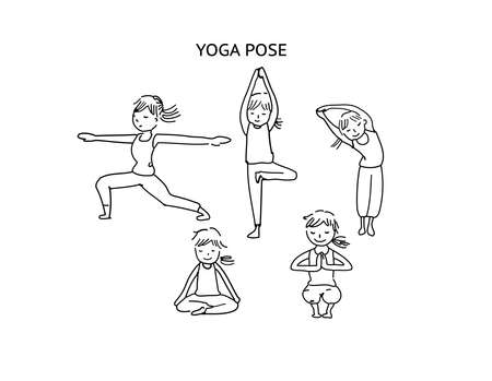 stretching: Yoga pose line art