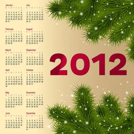 fur tree: Calendario verticale 2012 Anno Con Albero Fur, Illustrazione Vettoriale