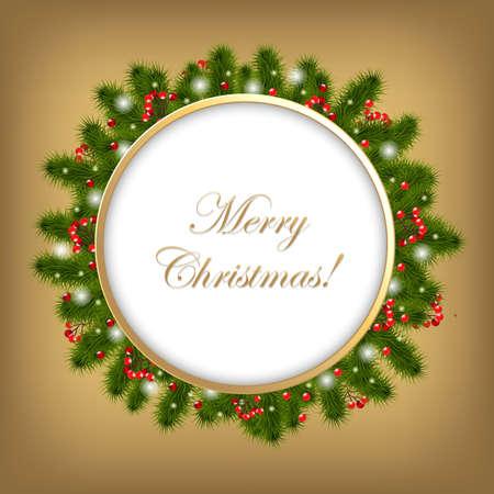 snow wreath: Christmas Composition, Vector Illustration  Illustration