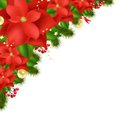 Red Poinsettia, Isolated On White Background, Vector Illustration Vector