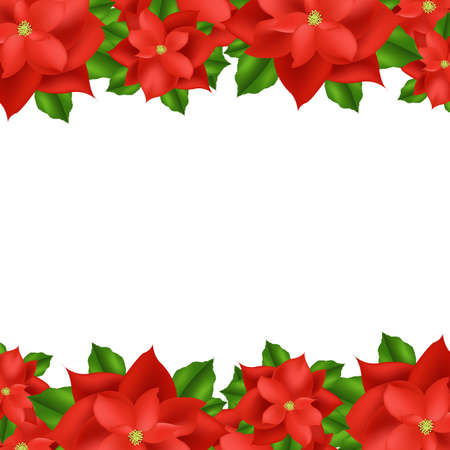 2 Red Poinsettia Border, Isolated On White Background, Vector Illustration Vector
