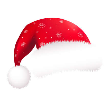 christmas hat: Red Santa Hat, Isolated On White Background, Vector Illustration Illustration