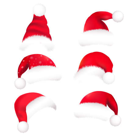 snow cap: 6 Santas Hat, Isolated On White Background, Vector Illustration Illustration