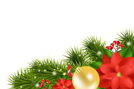 Xmas  Card With Poinsettia, Isolated On White Background, Vector Illustration Vector
