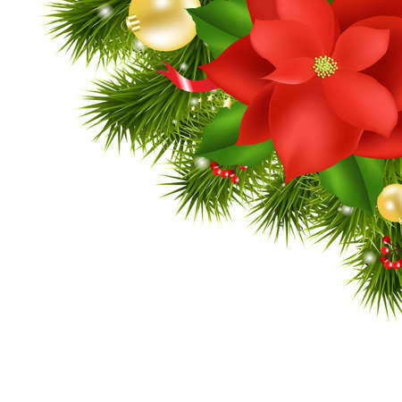 Xmas Composition With Red Poinsettia, Isolated On White Background, Vector Illustration Vector
