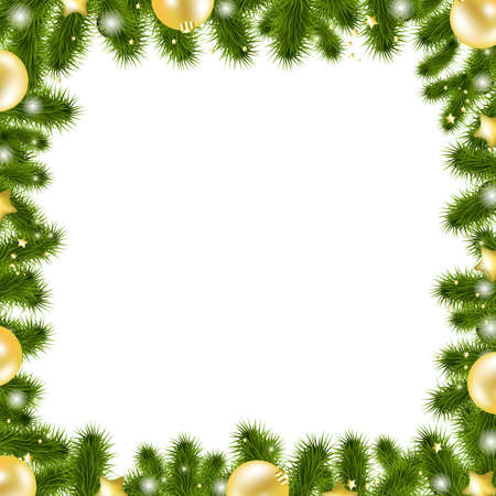 Xmas Gold Border, Isolated On White Background, Vector Illustration Vector