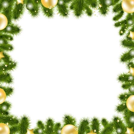 Xmas Gold Border, Isolated On White Background, Vector Illustration Illustration