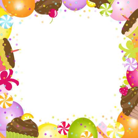 verjaardag frame: Verjaardag Frame, Geà ¯ soleerd Op Witte Achtergrond, Vector Illustratie