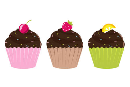 3 Birthday Set Cupcakes, Isolated On White Background, Vector Illustration Vector