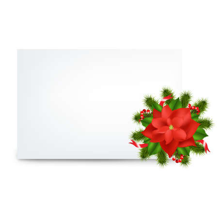 Blank Gift Tag And Pointsettia, Isolated On White Background, Vector Illustration