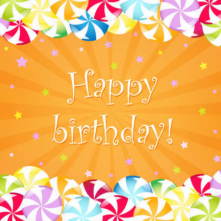 hard candy: Birthday Card With Candy, Vector Illustration Illustration