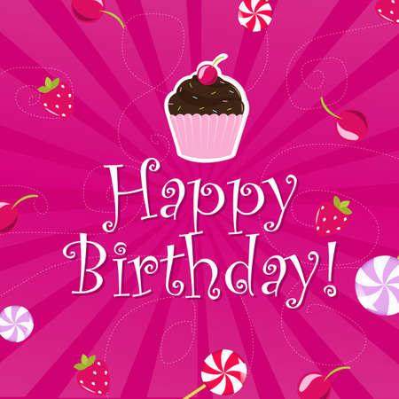 fruitcakes: Birthday Color Card, Vector Illustration  Illustration
