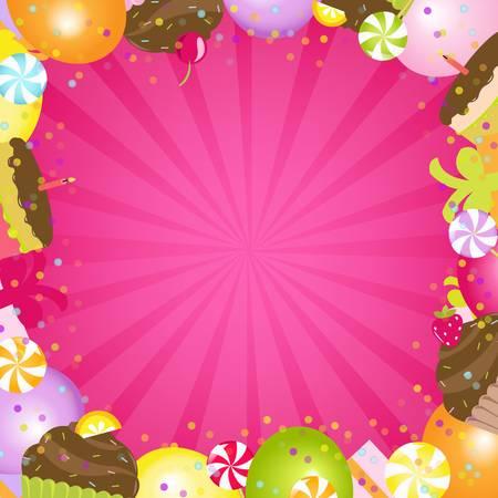 caramel: Birthday Color Frame, Vector Illustration