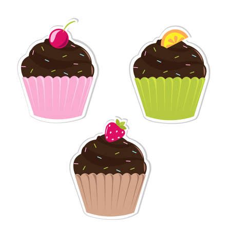 3 Cupcakes Labels, Isolated On White Background, Vector Illustration  Vector