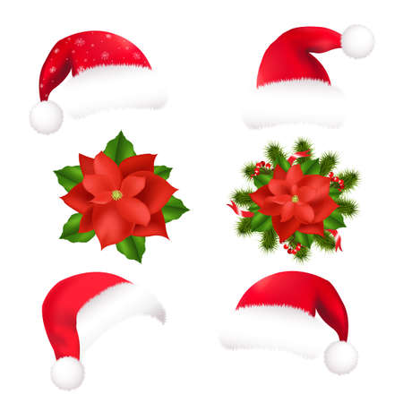 santa cap: 4 Santa Hat And 2 Poinsettia, Isolated On White Background, Vector Illustration