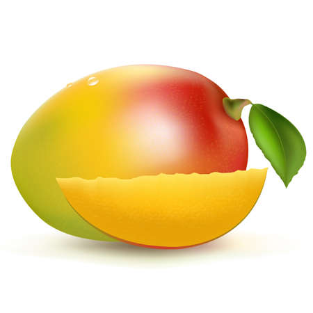 Mango, Isolated On White Background, Vector Illustration  Vector