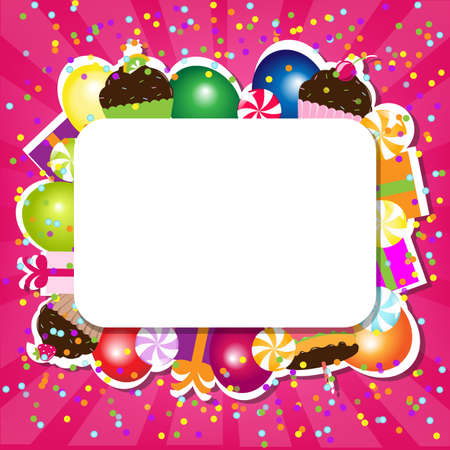 candy background: Birthday Color Card, Vector Illustration  Illustration