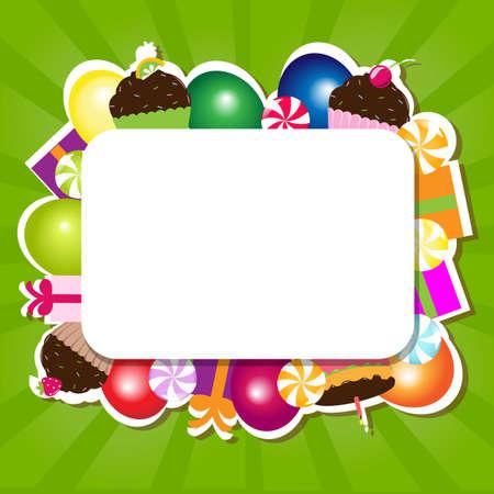 Birthday Color Card, Vector Illustration