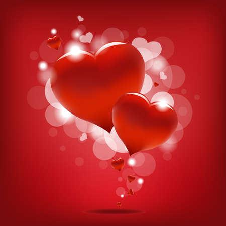 Valentin`s Day Card With Hearts, Vector Illustration  Vector