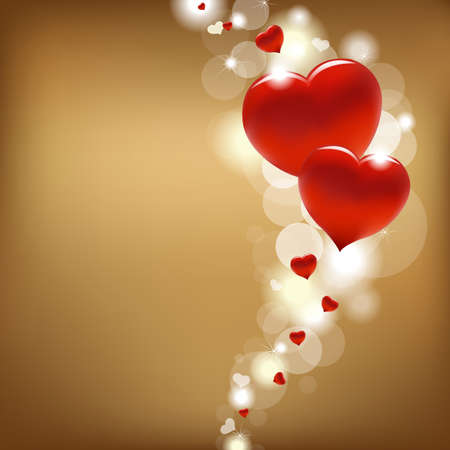 bokeh: 2 Hearts And Valentin`s Day Card With, Vector Illustration
