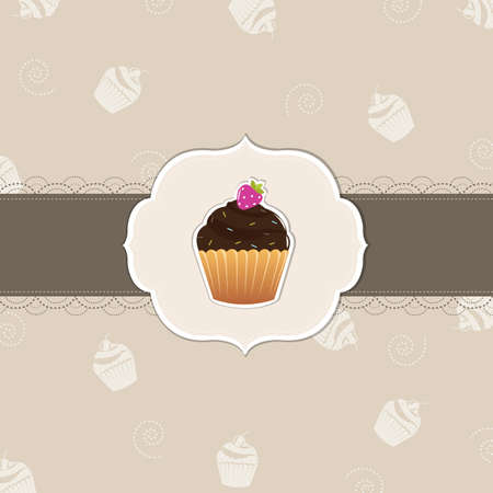 layout strawberry: Cake Card, Vector Illustration