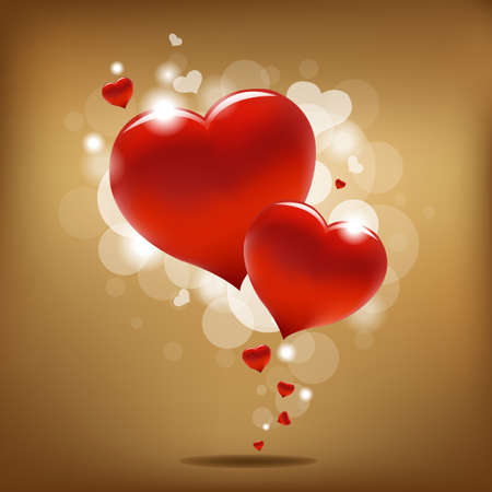 2 Hearts And Valentin`s Day Card With, Vector Illustration  Vector
