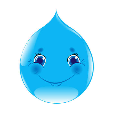 Cartoon Water Drop, Isolated On White Background, Vector Illustration