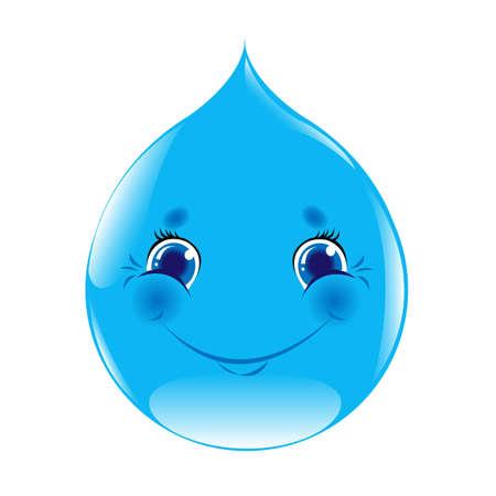 regentropfen: Cartoon Water Drop, Isoliert auf wei�em Hintergrund, Vektor-Illustration