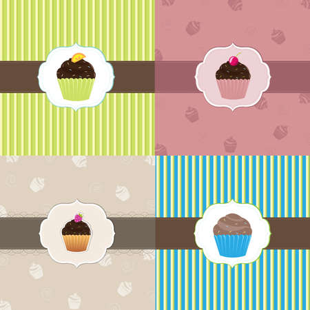 Cake Card Template Set, Vector Illustration  Vector