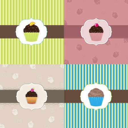 dessert muffin: Cake Card Template Set, Vector Illustration  Illustration