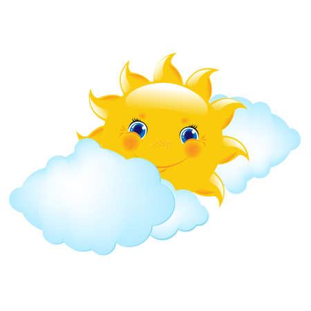 cartoon sun: Cartoon sol y las nubes, Ilustraci�n Vectorial