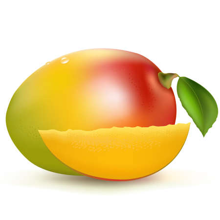 Mango, Isolated On White Background, Vector Illustration