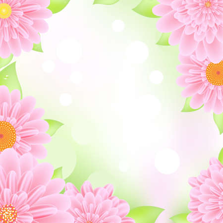 Pink Gerbers Frame, Vector Illustration Vector