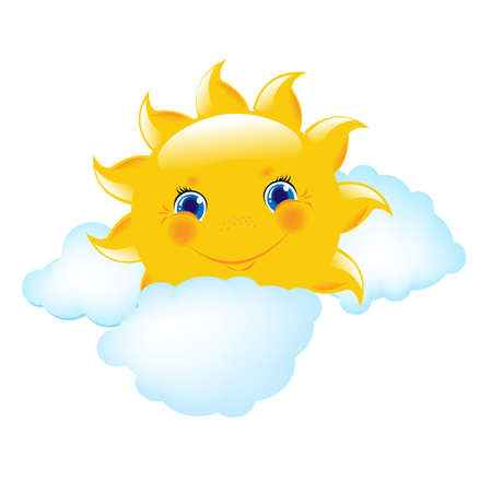 sol caricatura: Cartoon sol y las nubes, Ilustración Vectorial