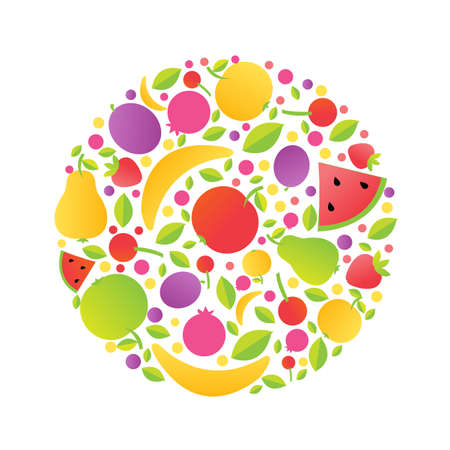 Sphere From Fruit, Vector Illustration  Vector