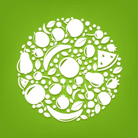 Esfera de las frutas, ilustración vectorial