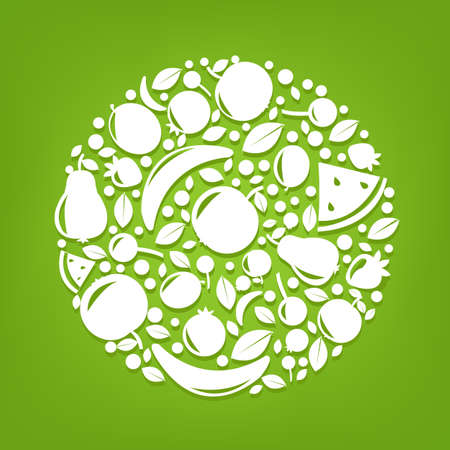 Sphere From Fruits, Vector Illustration
