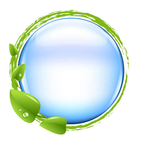 Blue Ball And Green Leafs, Illustration   Vector