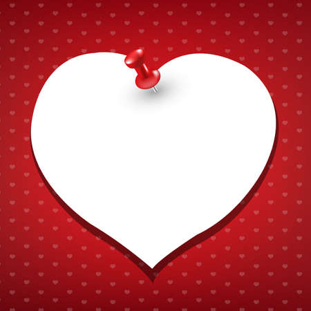 message pad: Note Paper Heart, Vector Illustration