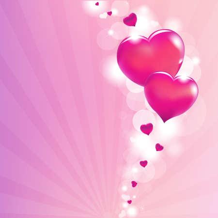 Valentines Hearts And Sunburst, Illustration Stock Vector - 12076123