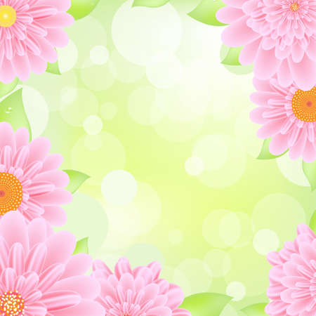 gerber flowers: Pink Gerbers Border, Illustration  Illustration