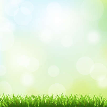 spring background: Green Grass And Spring Background,  Vector Illustration