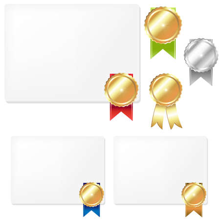 Medal And Blank Gift Tags, Isolated On White Background, Vector Illustration Stock Vector - 12285287